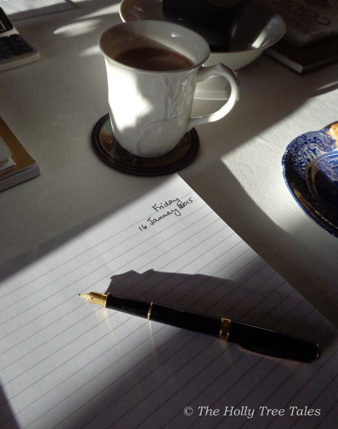 Writing. Pen. Tea. Spode. (c) The Holly Tree Tales  www.TheHollyTreeTales.com