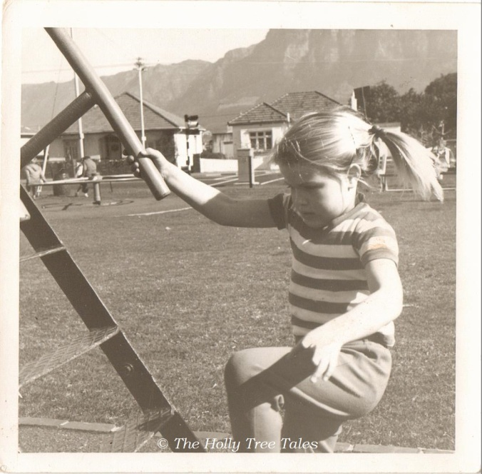 Climbing up a slide. Cape Town - c 1969 - THTT signed - © Holly M Maxwell Boydell