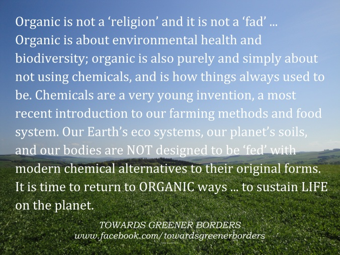 DSC06210 - Organic is not a religion or a fad - Holly quote - TGB + HMB signed