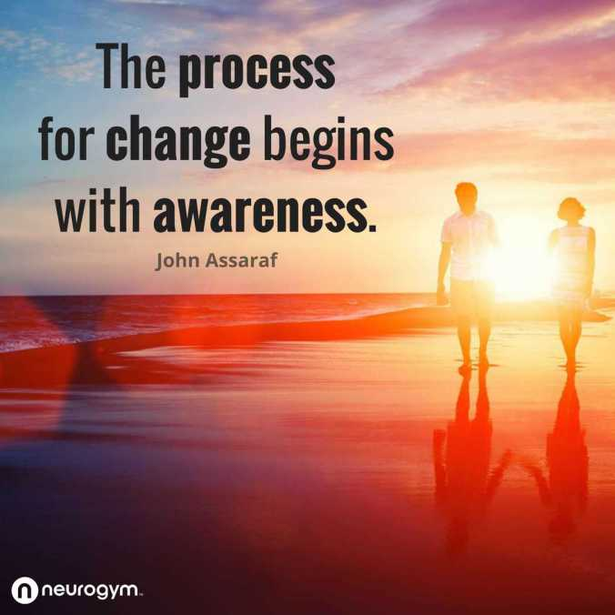 WTGWL - social2 - The process for change begins with awareness - John Assaraf quote - April 2019. Winning The Game of Fear. Emotions. Anxiety. Stress. Overwhelm. Bringing Calm And Order to Life - via www.TheHollyTreeTales.com. NeuroGym Affliliate.