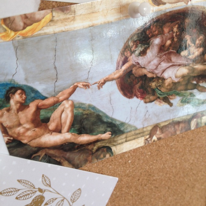 Michaelangelo. The Creation of Adam. Finger of God. Postcard on Pinboard ~ The Holly Tree Tales.  (c)  www.TheHollyTreeTales.com
